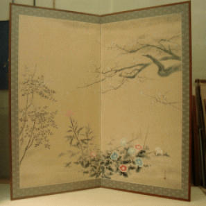 日本画を使った屏風