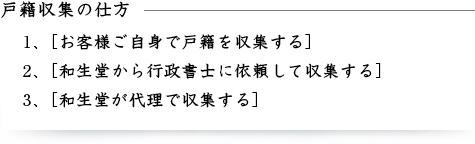 戸籍収集の仕方 1.お客さまご自身で戸籍を収集する。2.和生堂から行政書士に依頼して収集する。3.和生堂が代理で収集する。