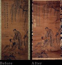 狩野探幽の画の修復
