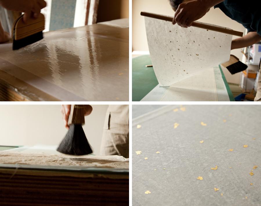 本金箔(純金)砂子装飾された雁皮紙を総裏打ち